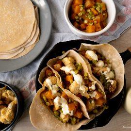 tacos maison aux légumes à la butternut et chou-fleur